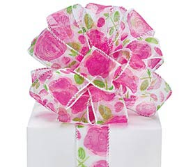 #9 PAINTED PETALS SHEER WIRED RIBBON