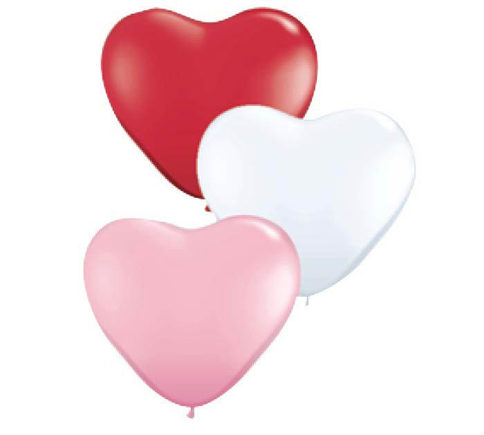 """15"""" QUALATEX HEART SHAPE, RED PINK WHITE"""