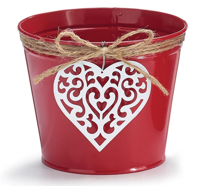 "4"" LOVE N' LACE TIN VALENTINE POT COVER"