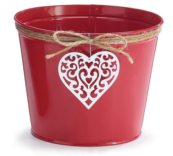 "6"" LOVE N' LACE TIN VALENTINE POT COVER"