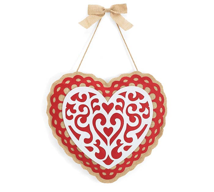 WALL HANGING BURLAP HEART