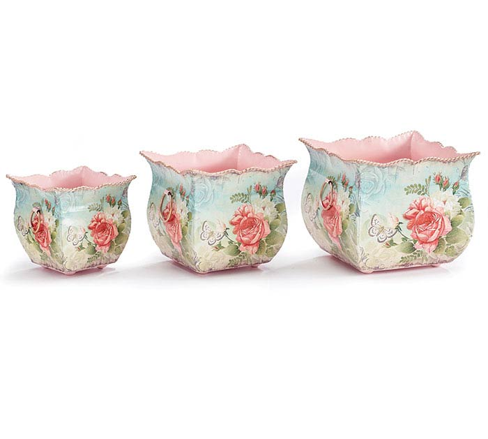 ROSABELLA TIN NESTED PLANTER SET
