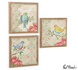 WALL HANGING BLOSSOMING BIRDS CANVAS