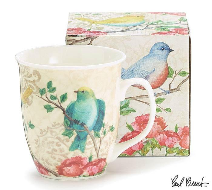 BLOSSOMING BIRDS PORCELAIN MUG W/BOX