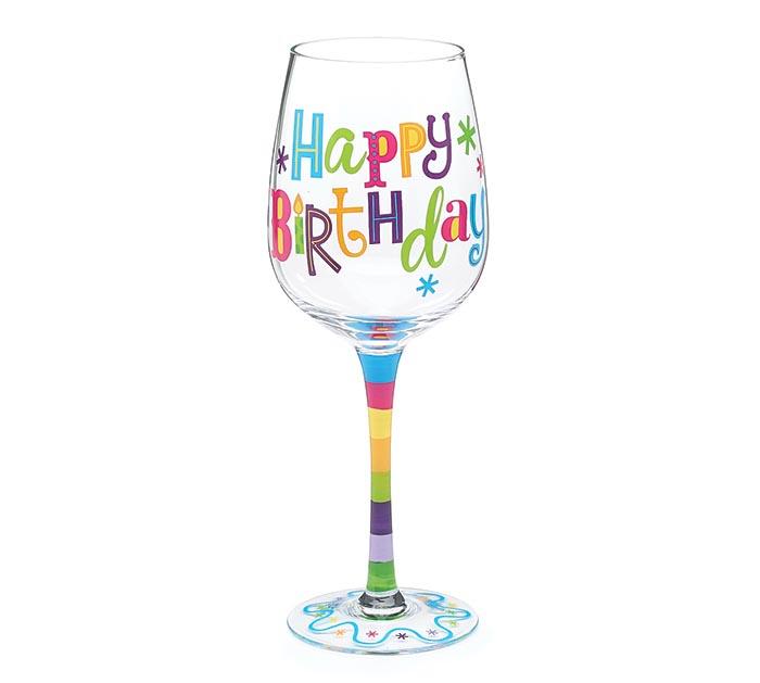 birthday glitz wine glass - Happy Birthday Wine Glass