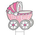ROCK N STROLLERS GIRL CARRIAGE YARD STAK