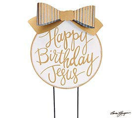 WHITER THAN SNOW HBD JESUS YARD STAKE