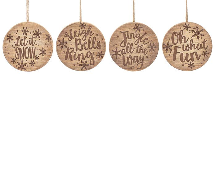 WOODLAND WINTER WOOD DISC ORNAMENT SET