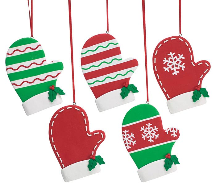 NORTH POLE PARTY MITTEN ORNAMENT SET