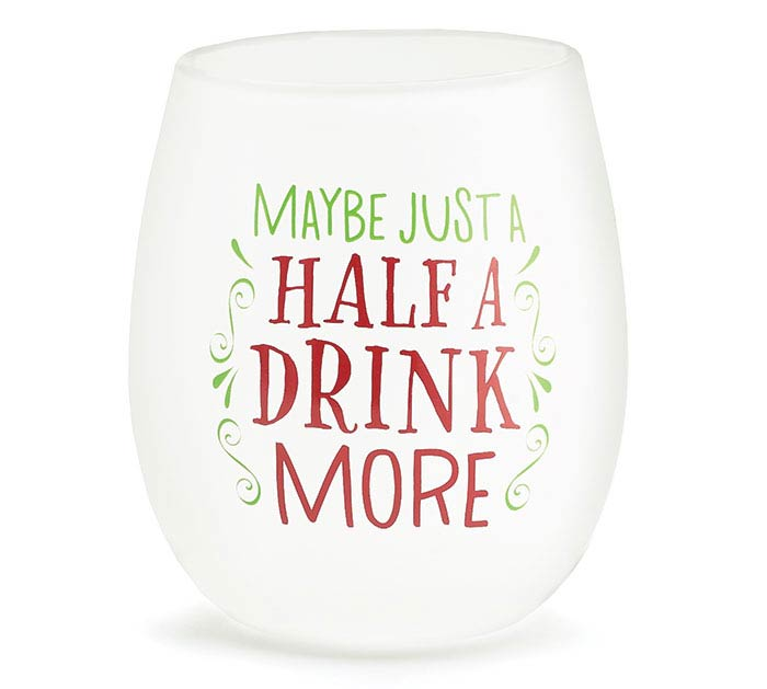NORTH POLE PARTY STEMLESS WINE GLASS