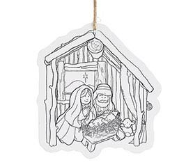 COLOR YOUR OWN MANGER SCENE ORNAMENT