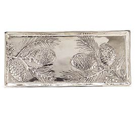 NATURALLY NOEL PEWTER-LIKE METAL TRAY