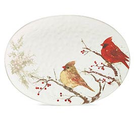 WINTER'S BLESSINGS W/ CARDINALS PLATTER
