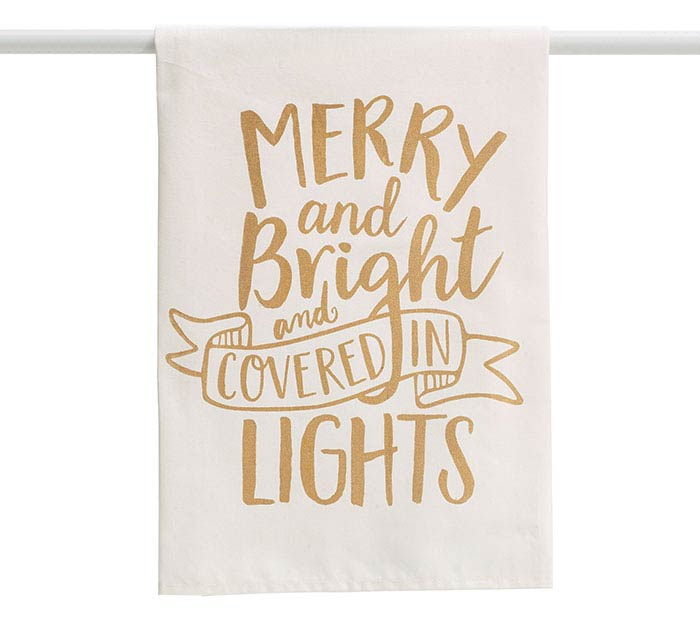HOLIDAY GOLD MERRY AND BRIGHT TEA TOWEL