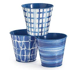 "4"" SHIBORI BLUE ASSORTED POT COVER SET"