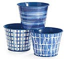 "6"" SHIBORI BLUE ASSORTED POT COVER SET"