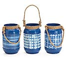 BLUE TIN SHIBORI VASE ASSORTMENT