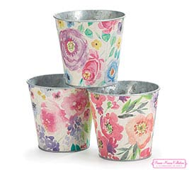 "4"" FLORAL INSPIRATIONS TIN POT COVER SET"
