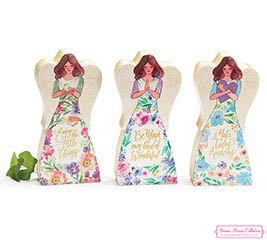 FLORAL INSPIRATINS WOOD BLOCK ANGEL SET