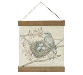 WATERCOLOR BLUEBIRD SCENE WALL HANGING