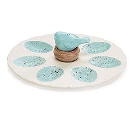 SAVANNAH SPRING EGG PLATE W/ SALT/PEPPER