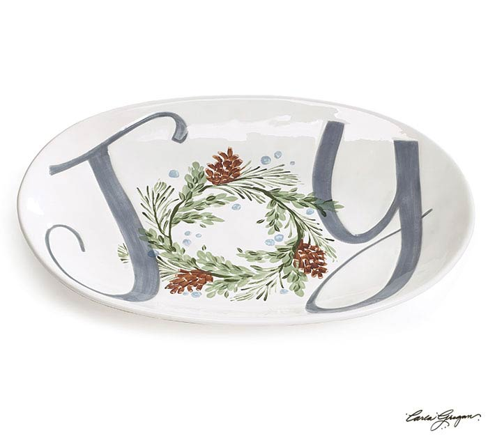 JOY WITH PINECONE WREATH O PLATTER