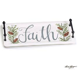 RECTANGLE TRAY FAITH WITH SIDE HANDLES