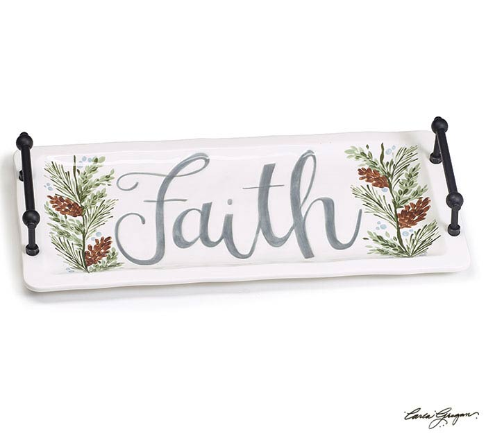 FAITH RECTANGLE TRAY WITH SIDE HANDLES