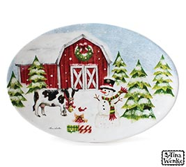 snowy farm scene on oval platter - Burlap Christmas Decorations Wholesale