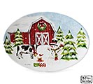 SNOWY FARM SCENE ON OVAL PLATTER
