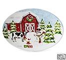 SNOWY FARM SCENE ON OVAL PLATTER