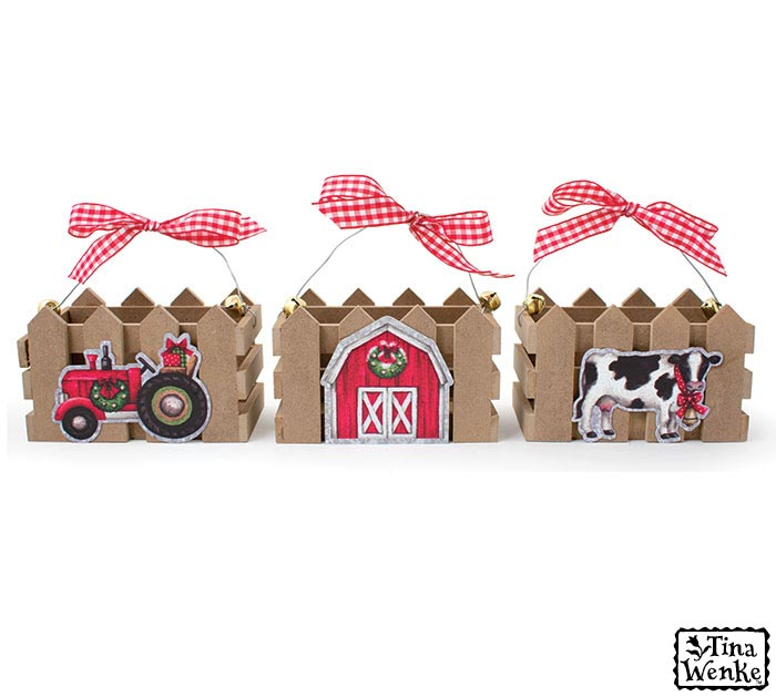 CHRISTMAS CRATE ASTD COW BARN TRACTOR