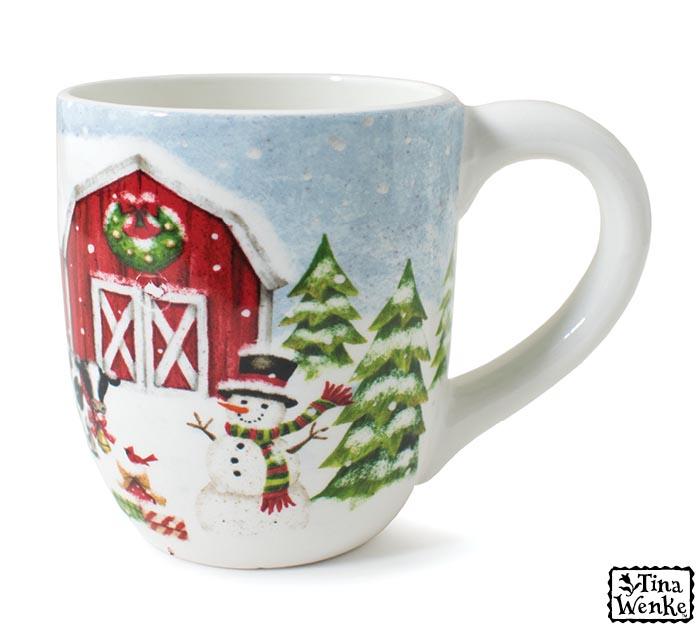 Snowy Farm Scene With Snowman Mug