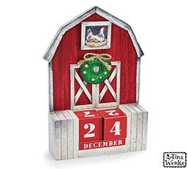 CALENDAR BARN SHAPE WITH TIN ICONS