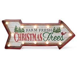 FARM FRESH CHRISTMAS TREE LIGHTED SIGN