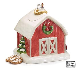 RED BARN SHAPE COOKIE JAR CMAS ACCENTS