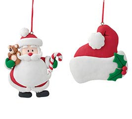 SANTA AND SANTA HAT CLAY DOUGH ORNAMENTS
