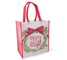 MERRY  BRIGHT TOTE WITH WREATH