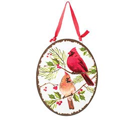 CARDINALS ON HOLLY OVAL ORNAMENT