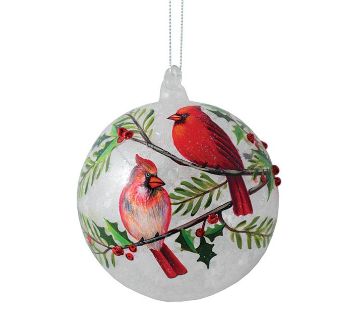 4 round glass ornament w cardinals