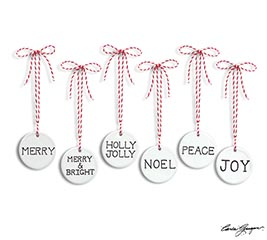 CERAMIC DISC ORNAMENTS W/ ASTD MESSAGES