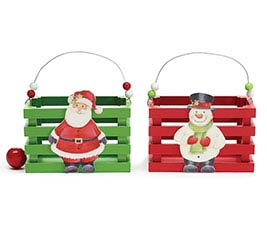 CHRISTMAS CHARACTER WOOD CRATE ASTD