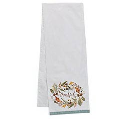 THANKFUL WREATH LINEN TABLE RUNNER