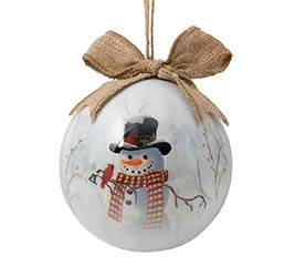 """4"""" ORN WITH SNOWMAN / SEASONS GREETINGS"""