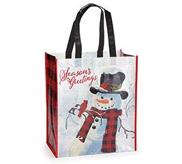 WINTER SCENE WITH SNOWMAN TOTE