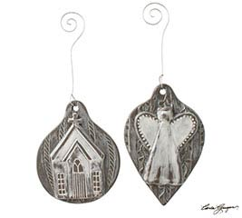 CHURCH/ANGEL CLAY HANDMADE LOOK ORNAMENT