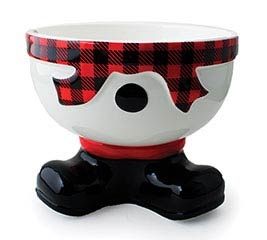 SNOWMAN FOOTED BOWL WITH RED/BLACK CHECK