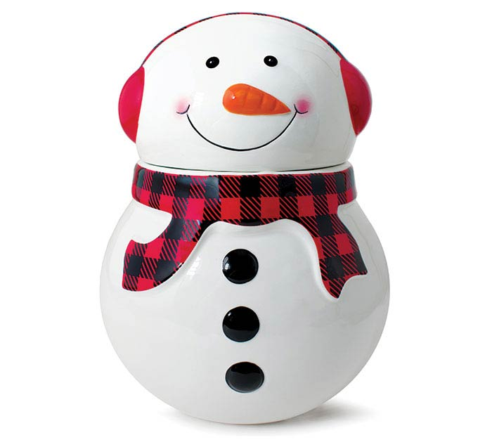 SNOWMAN WITH RED/BLACK CHECK COOKIE JAR