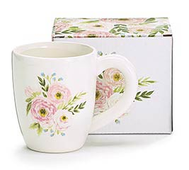 PINK FLORAL DECAL ON CREAM MUG