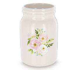 PINK FLORAL DECAL ON MASON JAR VASE